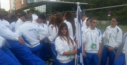 המתעמלת גאיה גלעדי וחברי המשלחת (הוועד האולימפי)
