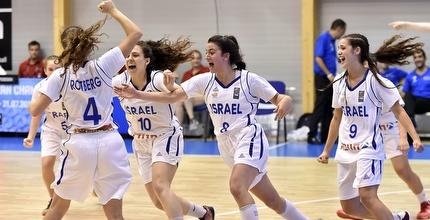 נבחרת הנערות חוגגת את הניצחון (האתר הרשמי של FIBA)