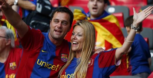 גם הם נהנים מברצלונה (רויטרס)