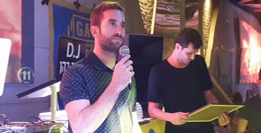 יוגב אוחיון וגיא פניני באירוע אוהדי מכבי תל אביב (מערכת ONE)