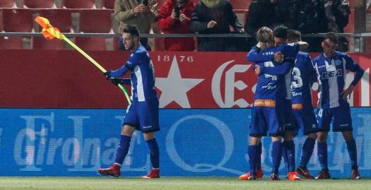 שחקני אלאבס חוגגים. תמונה נדירה העונה (La Liga)