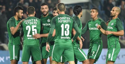 שחקני מכבי חיפה חוגגים (נעם מורנו)