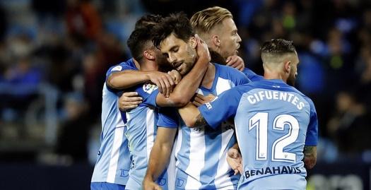 מיגל צ'יפואנטס חוגג עם שחקני מלאגה (La Liga)