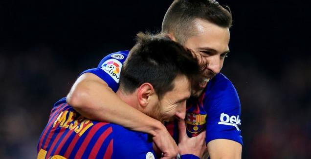 ג'ורדי אלבה וליאו מסי חוגגים (La Liga)