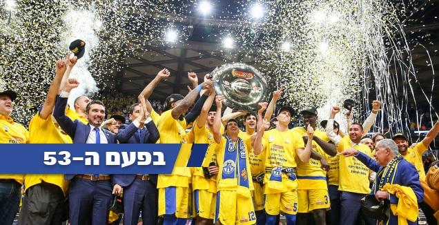"""בפעם ה-53: מכבי ת""""א זכתה באליפות המדינה"""