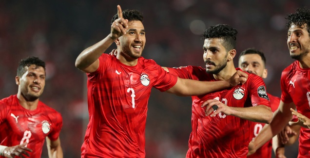 שחקני נבחרת מצרים חוגגים (רויטרס)