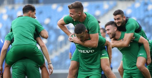 שחקני מכבי חיפה באימון המסכם (רדאד ג'בארה)