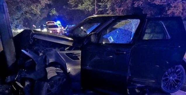 המכונית שהייתה מעורבת בתאונה (Derbyshire Constabulary)