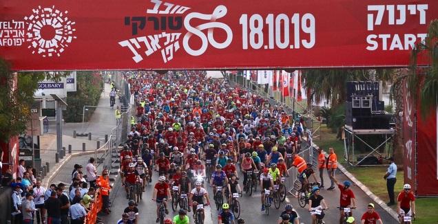 מרוץ האופניים בת&qout;א. למצולמים אין קשר לנאמר בכתבה (צילום: רונן טופלברג)