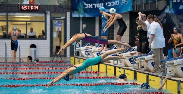 אליפות מכבי ישראל בשחייה (באדיבות ג'ימי קוניארסקי, מכבי פארק המים רעות)
