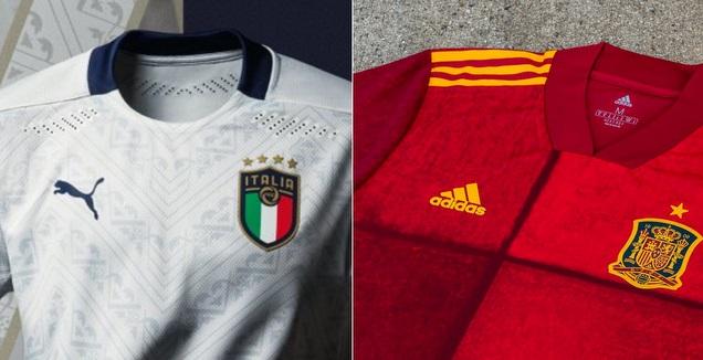 החולצות של ספרד ואיטליה ליורו 2020 (צילום מסך)