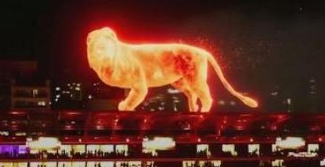 ההולוגרמה של האריה באצטדיון (צילום מסך)