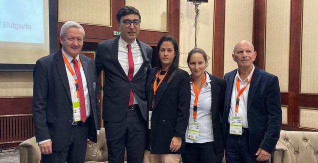 הפגישה בין נציגי האיגוד הישראלי לאנשי האיגוד האירופי (צילום: איגוד ההתעמלות)
