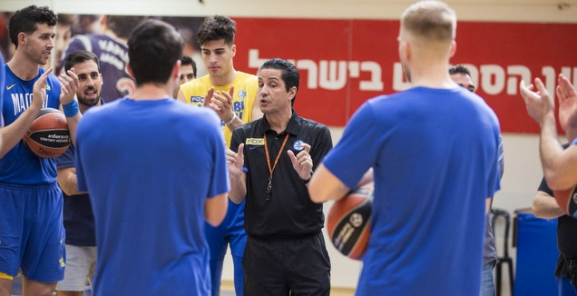 יאניס ספרופולוס ושחקני מכבי תל אביב באימון (איתי כהן)