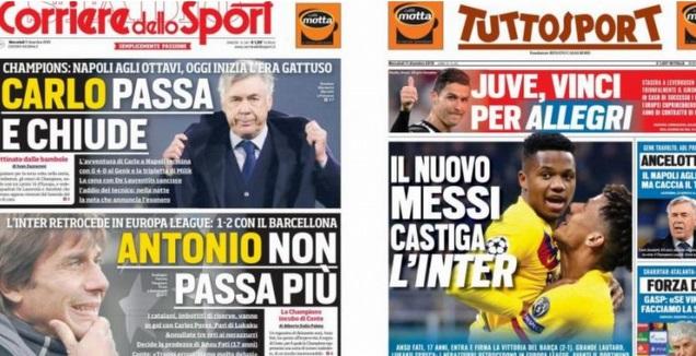 עיתוני איטליה (צילום מסך)