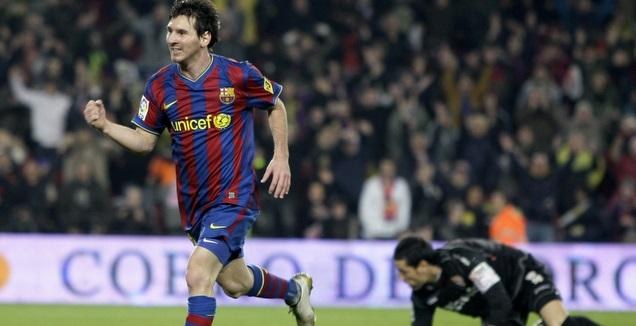 ליאו מסי חוגג את שערו ה-100 במדי ברצלונה (רויטרס)