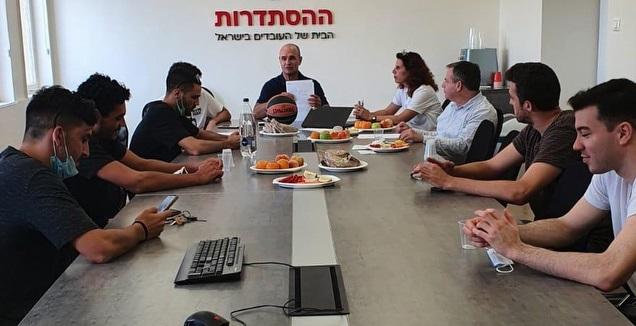 ארגון השחקנים בישיבה עם שחקני הליגה הארצית (באדיבות ארגון השחקנים)