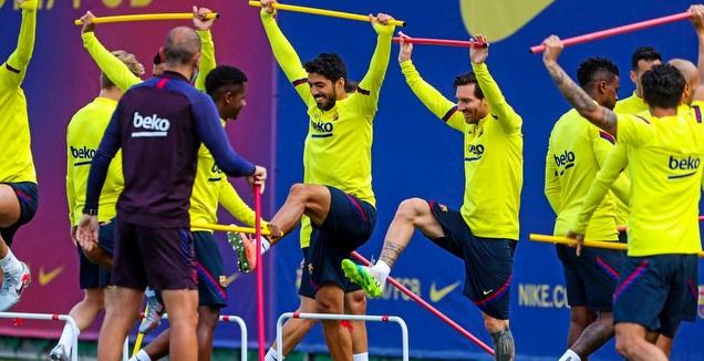 ליאו מסי באימון ברצלונה (האתר הרשמי של ברצלונה)