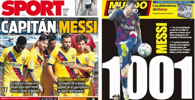 שערי העיתונים בברצלונה (צילום מסך)