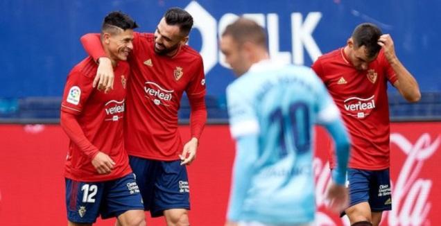 שחקני אוססונה חוגגים, יאגו אספס מאוכזב (La Liga)