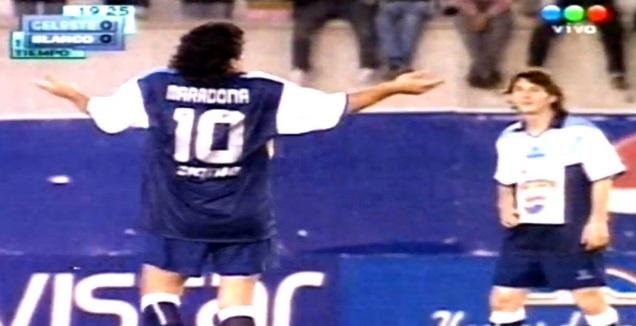 מסי ומראדונה ב-2005 (צילום מסך)