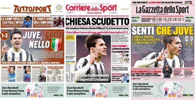 שערי העיתונים באיטליה (צילום מסך)