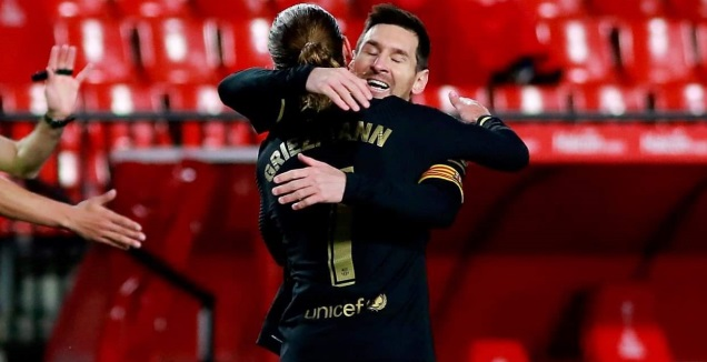 ליאו מסי ואנטואן גריזמן חוגגים (La Liga)