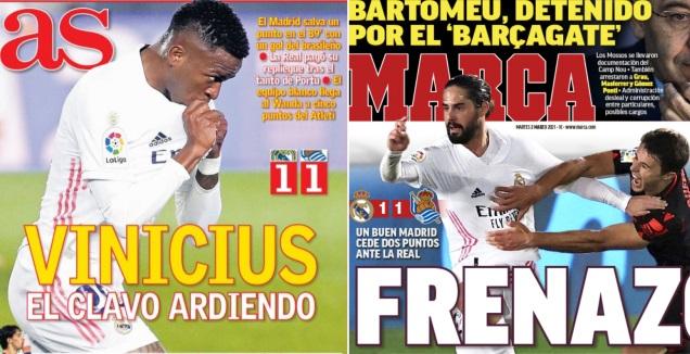 כותרות העיתונים במדריד (צילום מסך)