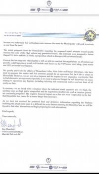 """המכתב ששלחה מכבי ת""""א לעירייה"""