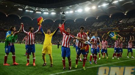 שחקני אתלטיקו מדריד חוגגים את הזכיה בתואר (GettyImages)