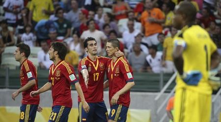 נבחרת ספרד חוגגת. תשמור על התואר? (רויטרס)