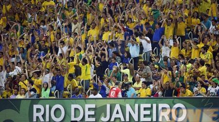 אוהדי נבחרת ברזיל מאושרים ביציע. אפשר להאשים אותם? (רויטרס)