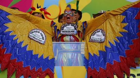 אוהד קולומביה מביע תמיכה בצורה מיוחדת (רויטרס)