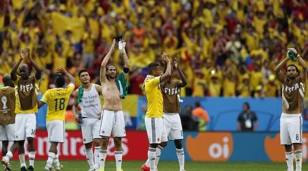 שחקני קולומביה מודים לקהל בסיום (רויטרס)