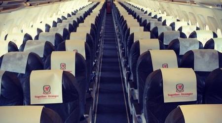 המטוס של נבחרת וויילס רגע לפני ההמראה לישראל (טוויטר)