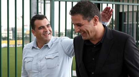 דורון אוסידון ומנחם קורצקי במתחם האימונים (רדאד ג´בארה)