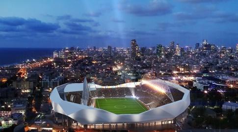 אצטדיון בלומפילד - הדמיה של מנספלד-קהת אדריכלים (עירייית תל אביב-יפו)