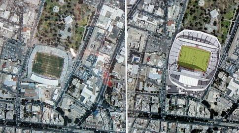האצטדיון גדל, הגג לא. האצטדיון החדש מול הישן (משה חרמון)