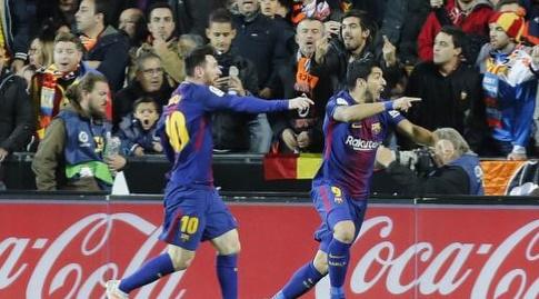 ליאו מסי ולואיס סוארס. גם הם ראו שהכדור עבר (La Liga)
