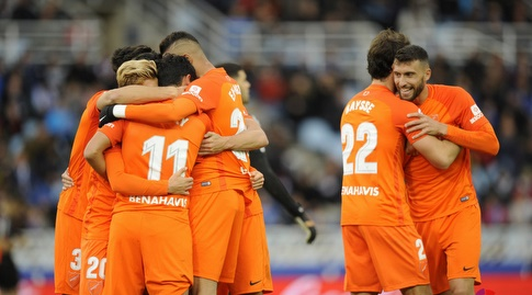 שחקני מלאגה חוגגים (La Liga)