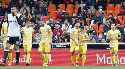 שחקני ג'ירונה לאחר השער (La Liga)