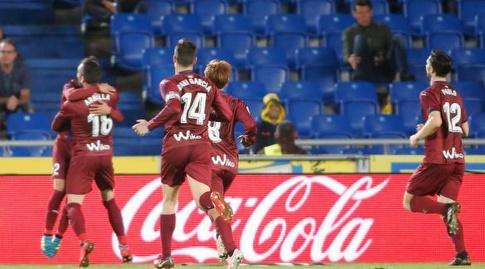 שחקני אייבר חוגגים את השוויון (La Liga)