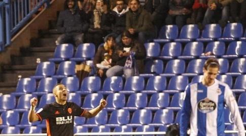 רודריגו חוגג את השער שלו (La Liga)