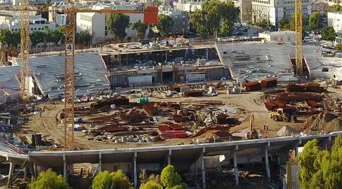 המבנה התפעולי ביציע המערבי הגיע לקומה השנייה (רדאד ג'בארה)
