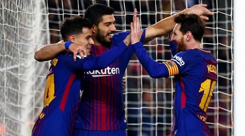 מסי, סוארס וקוטיניו חוגגים (La Liga)