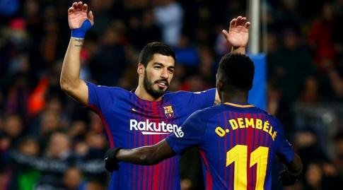 לואיס סוארס ואוסמן דמבלה חוגגים (La Liga)