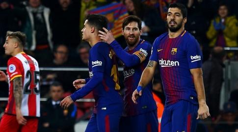 מסי, סוארס וקוטיניו חוגגים מול ג'ירונה (La Liga)