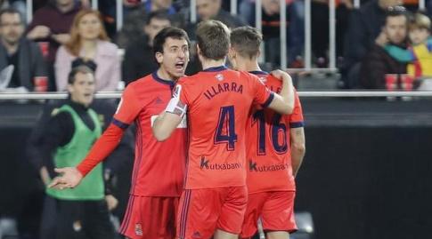 שחקני סוסיאדד חוגגים את השוויון (La Liga)