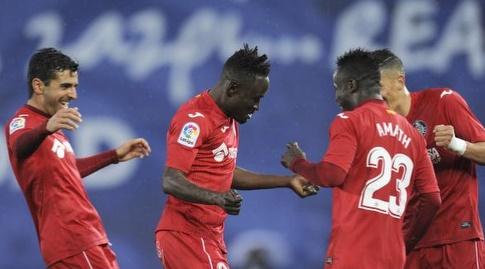 שחקני חטאפה חוגגים את השוויון (La Liga)