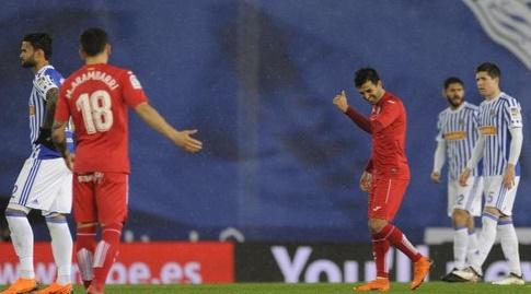 אנחל רודריגס לאחר השער שלו (La Liga)